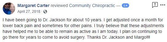 Community Chiropractic Patient Testimonial